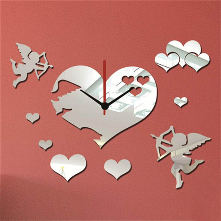 Love Angels Heart Shape Mirror Wall Clock Silver Color 1