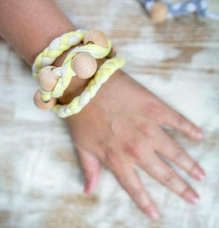 Braided Wooden Bead Wrap Bracelet: