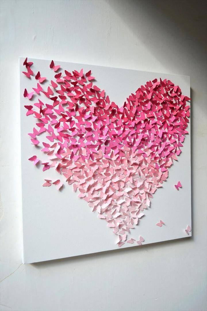 Wall Art Decor, Pink Heart Butterfly Canvas Shaped Form Love Design Beautiful Shading Three Dimensions