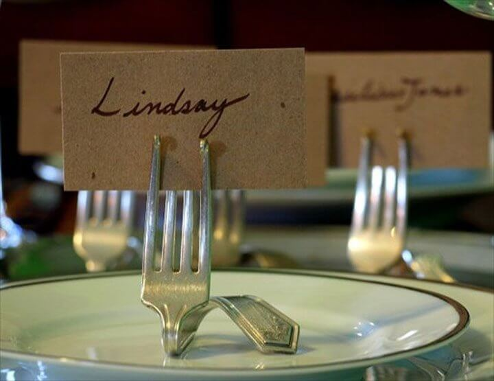 Fork name place holders. Would work really well with vintage forks, Fork Place Card Holders