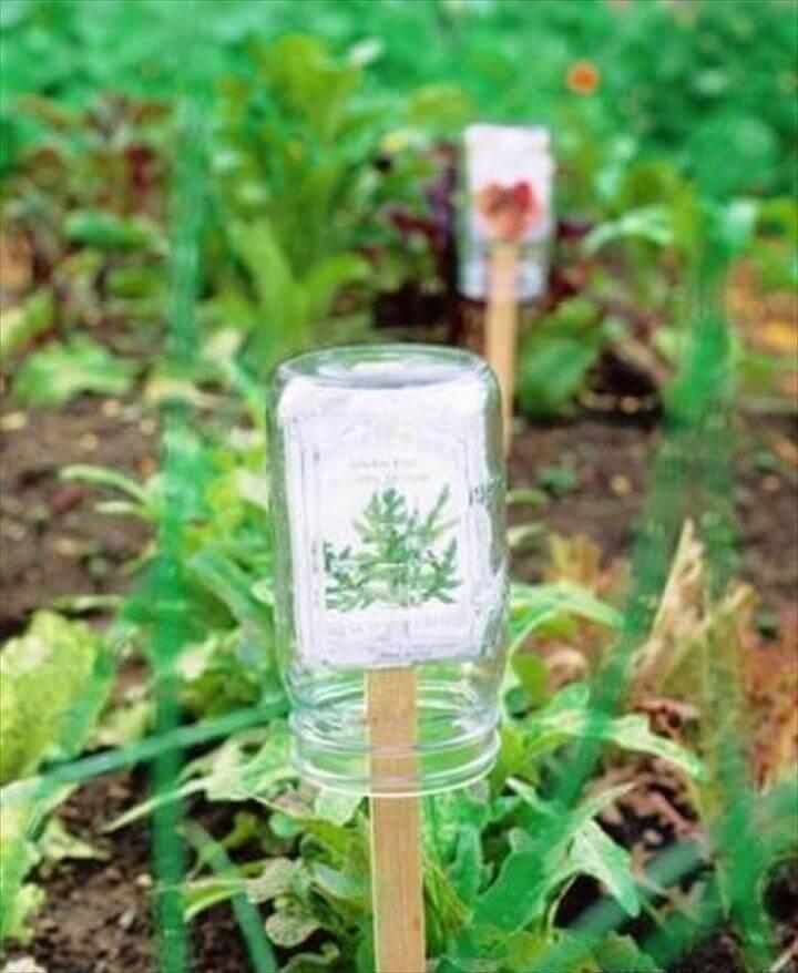 DIY Plant Marker Protector Using Mason Jar
