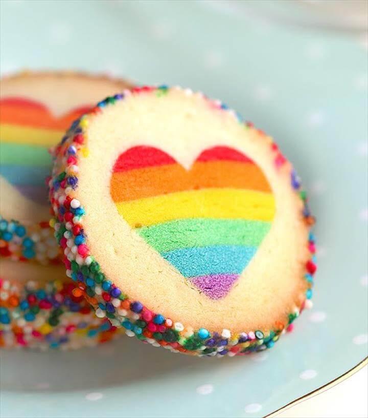 "Eugenie Cookie"" Rainbow Heart Cookies Slice & Bake Surprise"