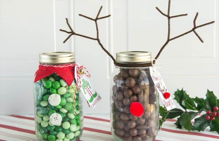 Reindeer Christmas Mason Jar Gift