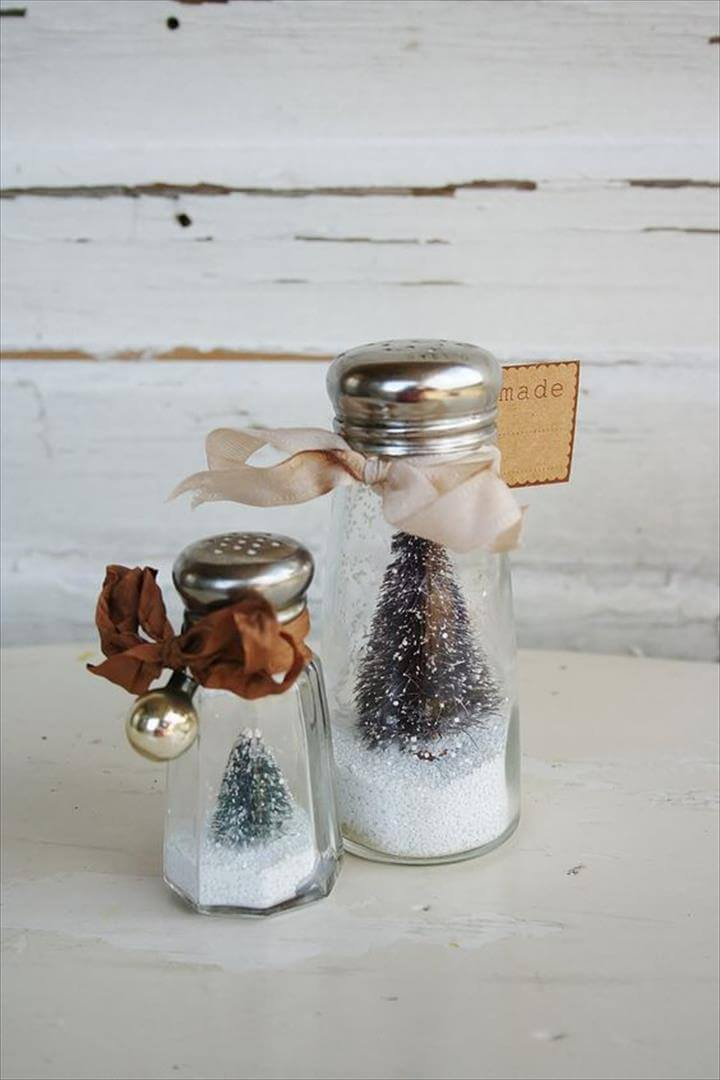 Salt Shakers Bottle Brush Trees Snow Globe