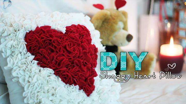 DIY Tutorial DIY Shaggy Heart Pillow