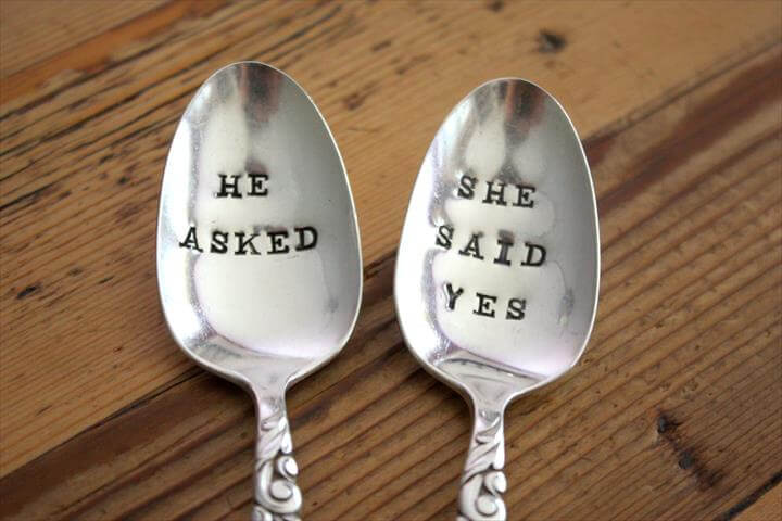 He Asked, She Said Yes Spoon Set - Hand Stamped - Personalized with Engagement Date - Vintage Engagement