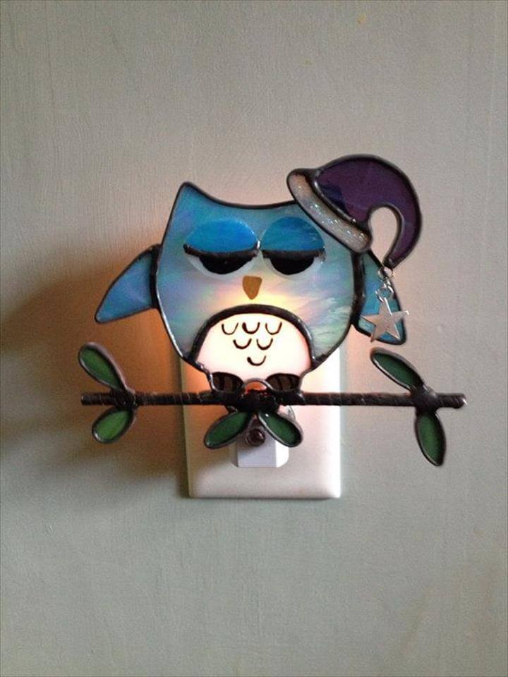 Stained Glass Sleepy Cutie Owl Night Light