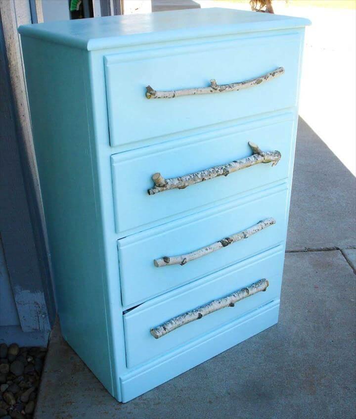 Tree Branch DIY Drawer Pulls on Baby Blue Dresser