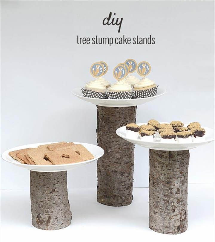 diy tree stump cake stands