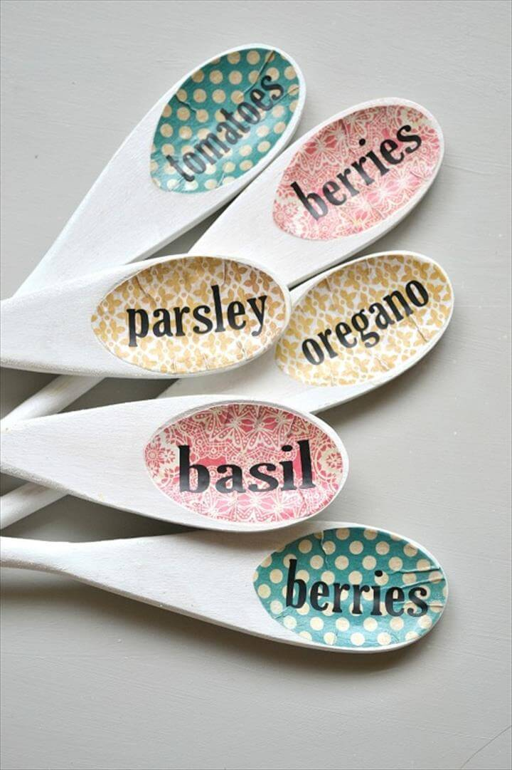 Wooden Spoon Garden Markers - Name of plant transferred to rim of spoon