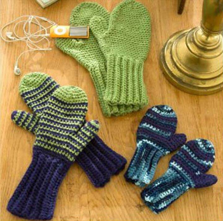 Crochet Patterns and Projects for Teens - Beginner Mittens for All - Best Free Patterns and