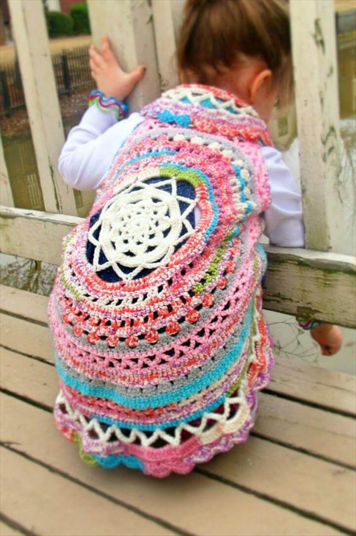 Boho Crochet Circle Vest- Free Pattern | Hobbies & Hugs