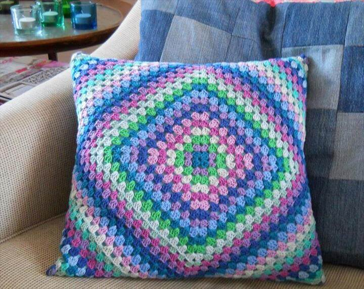 Crochet Granny Square Pillow: