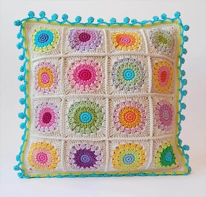 Colorful granny square cushion free pattern