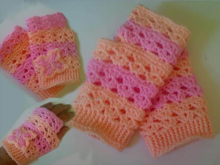 Free Crochet Pattern: How to crochet fingerless gloves wristers for beginners