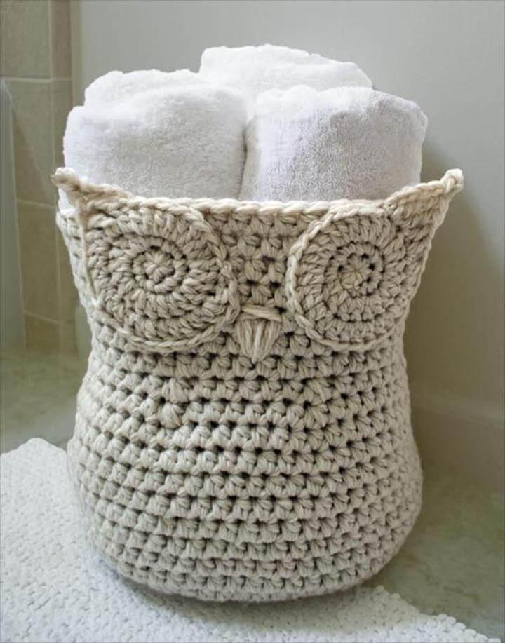 crochet owl basket | crochet patterns for beginners