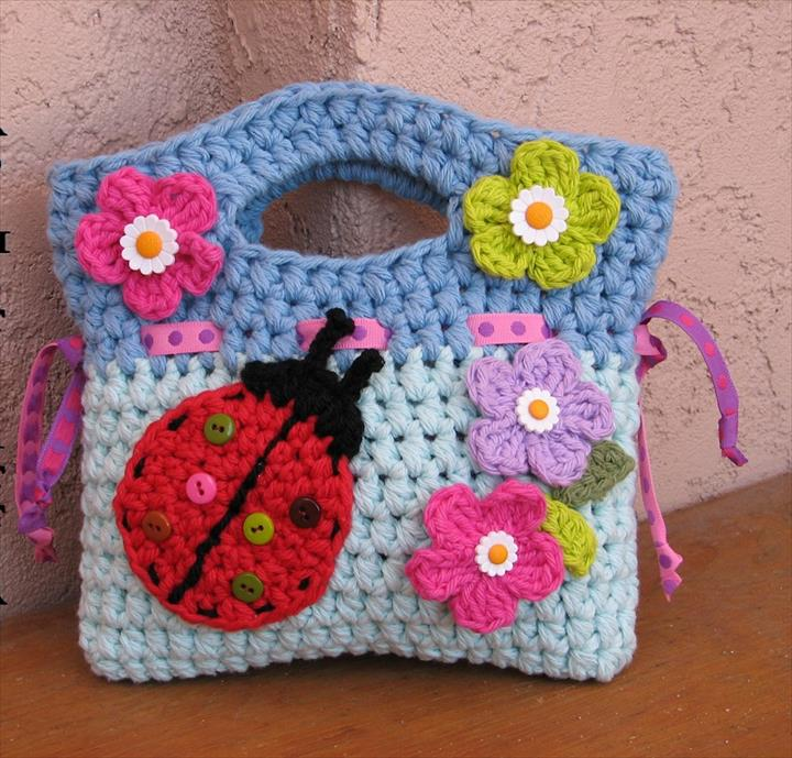 Girls Bag / Purse With Ladybug And Flowers , Crochet Pattern PDF,Easy, Great For Beginners