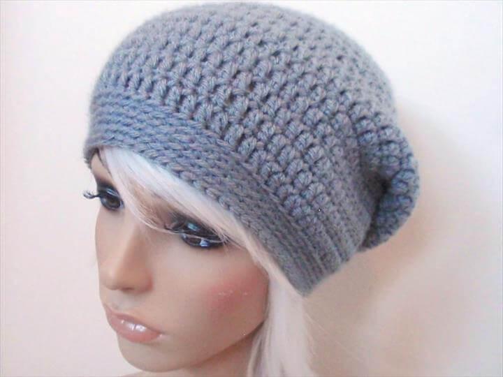 Crochet hats:Crochet Slouchy Hat Beginner Crochet Slouchy Hat Pattern Bwcbr ...
