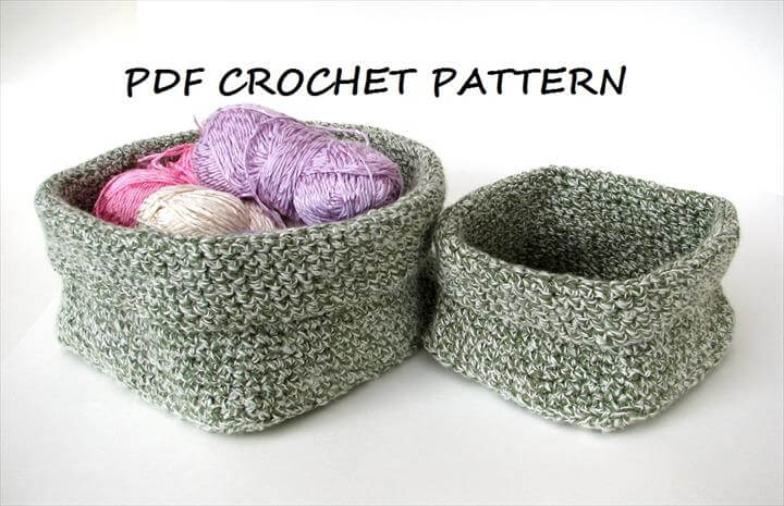 Crochet square basket - 2 sizes, crochet pattern