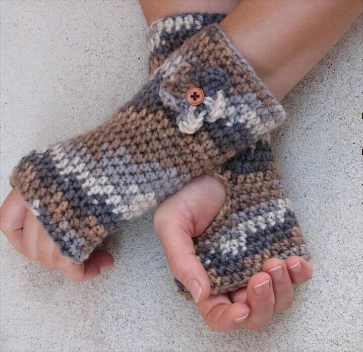 Fingerless gloves with Flower , Crochet Pattern PDF,Easy, Great for Beginners,