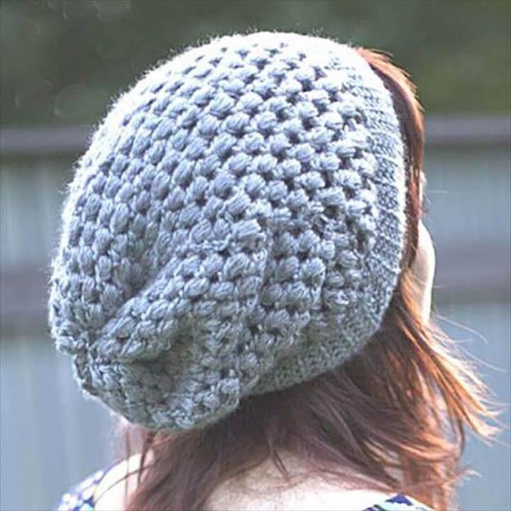 puff stick slouch beanie free crochet pattern