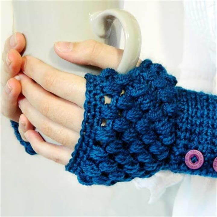Crochet Patterns and Projects for Teens - Puff Stitch Fingerless Gloves Crochet Pattern - Best Free