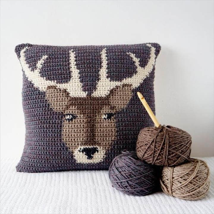 Crochet Pillow Cover Pattern Cushion PDF Stag