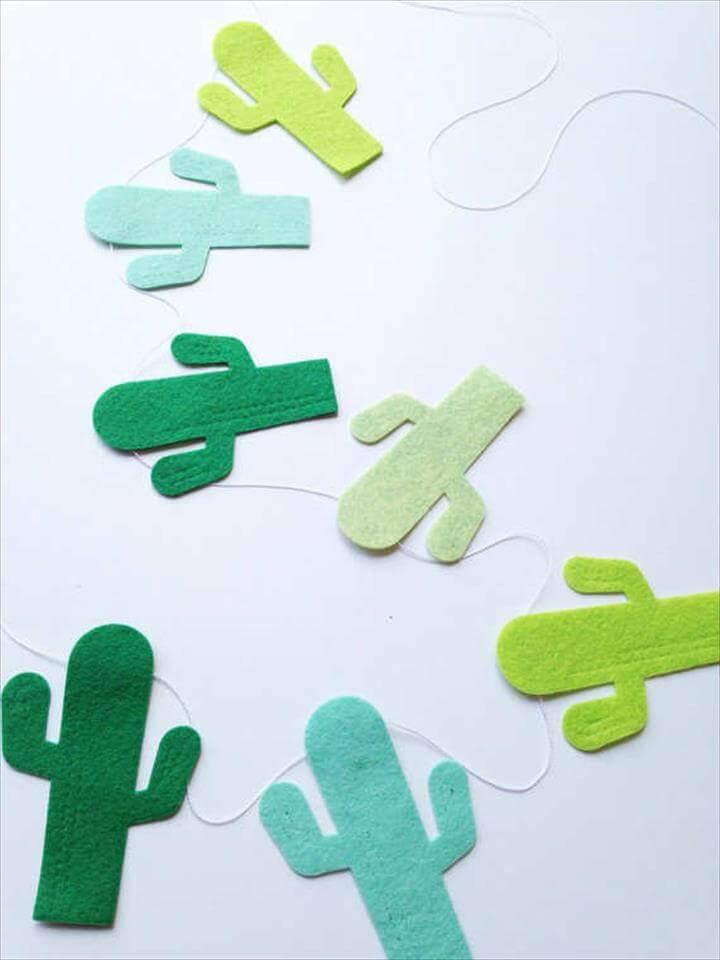 Adorable felt cactus garland