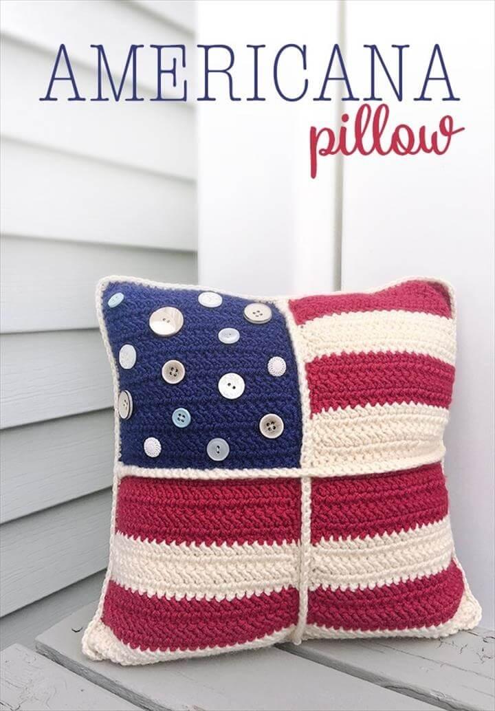 Americana Pillow Patriotic Crochet Pattern   Free American Flag Crochet Pattern by Little Monkeys Crochet
