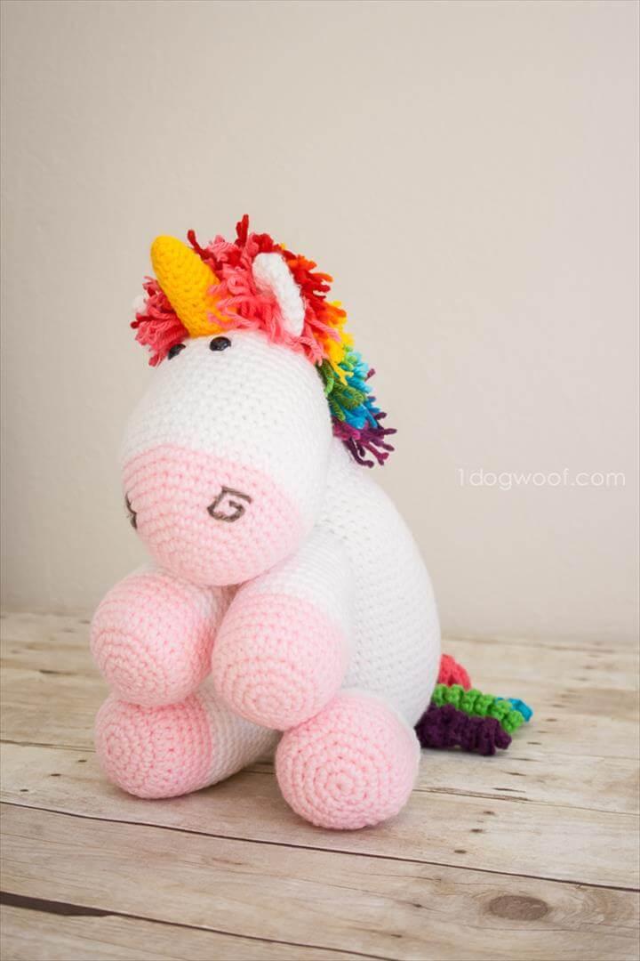 Amigurumi Rainbow Mained Unicorn Crochet Pattern from One Dog Woof