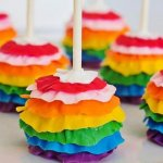 Awsome Ruffle Rainbow Cake Pops, DIY Ruffle Cake Ideas, Colorful Party Food.
