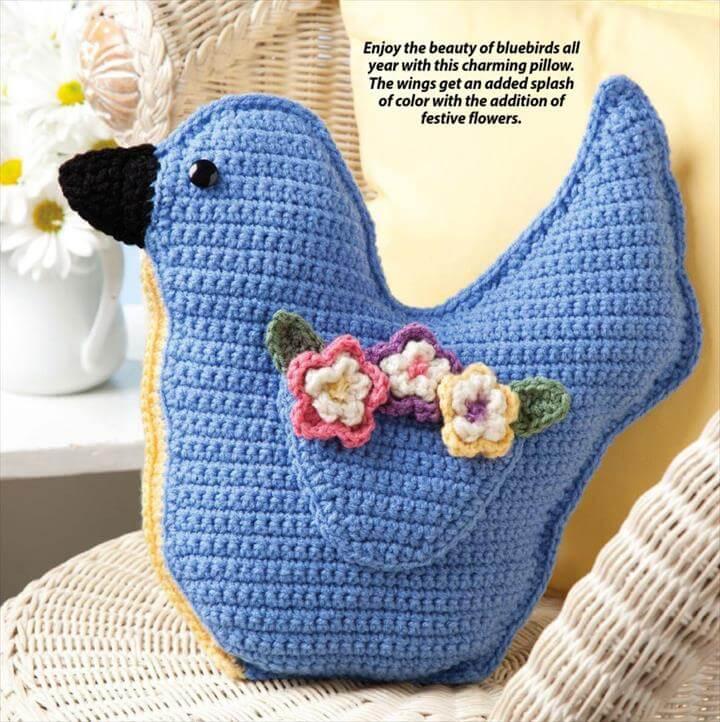 Crochet Pillow Bluebird