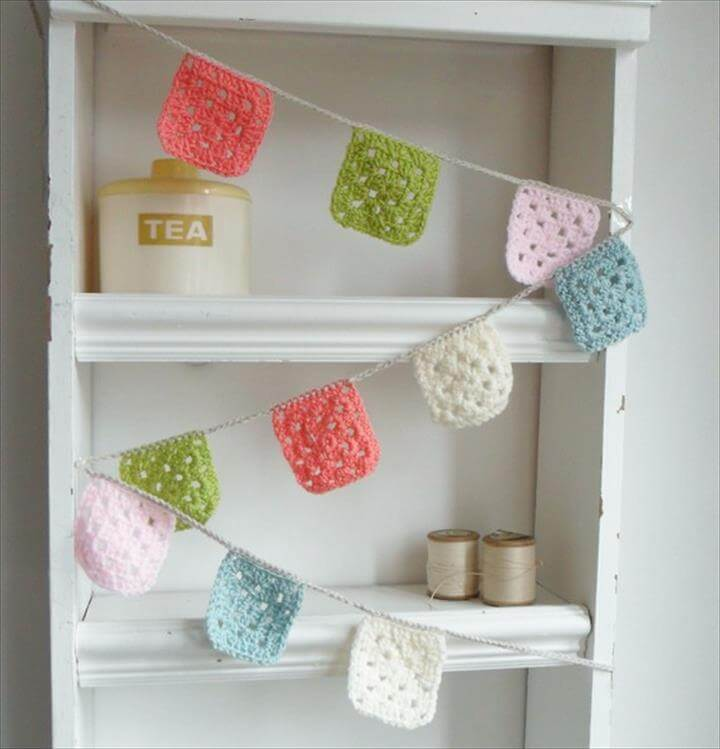 Crochet Garland - Banner - Bunting granny squares in Baby Pink - Olive - Peachy Pink