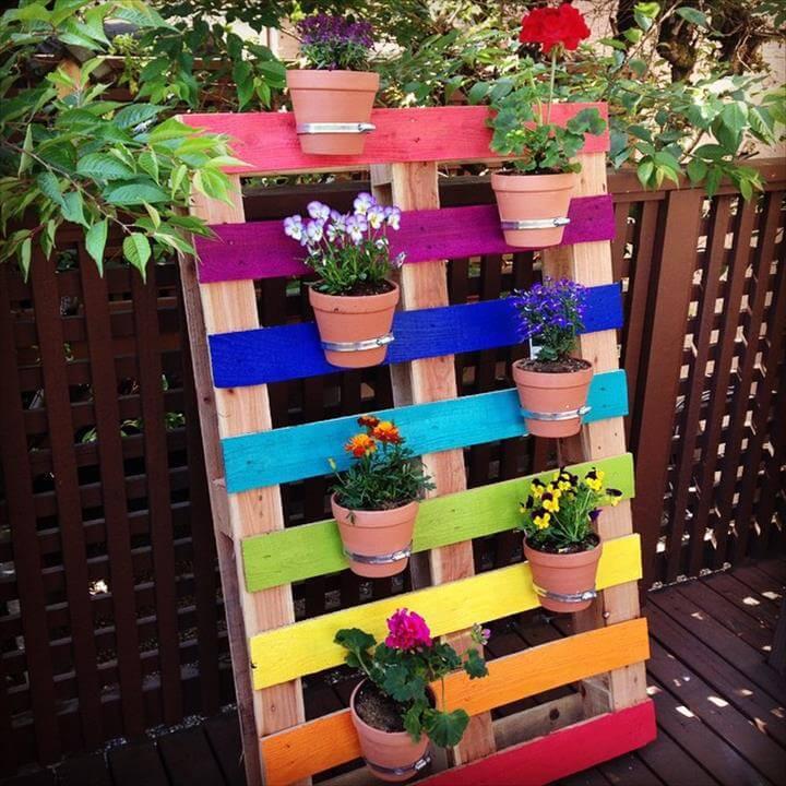 Rainbow Pallet Flower Garden