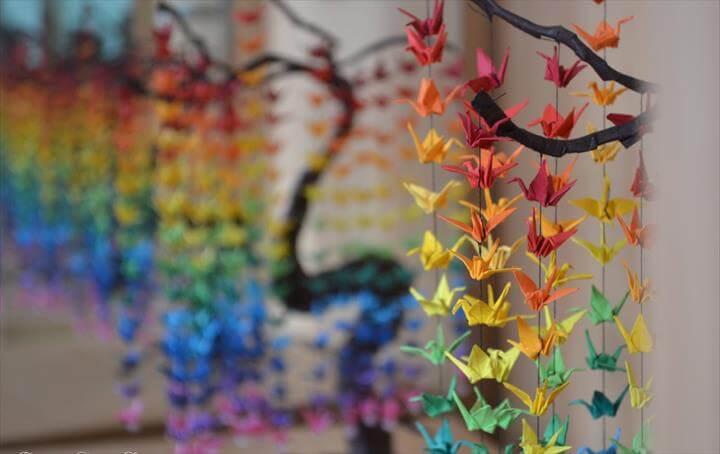 Colorful Rainbow DIY Crane Curtain