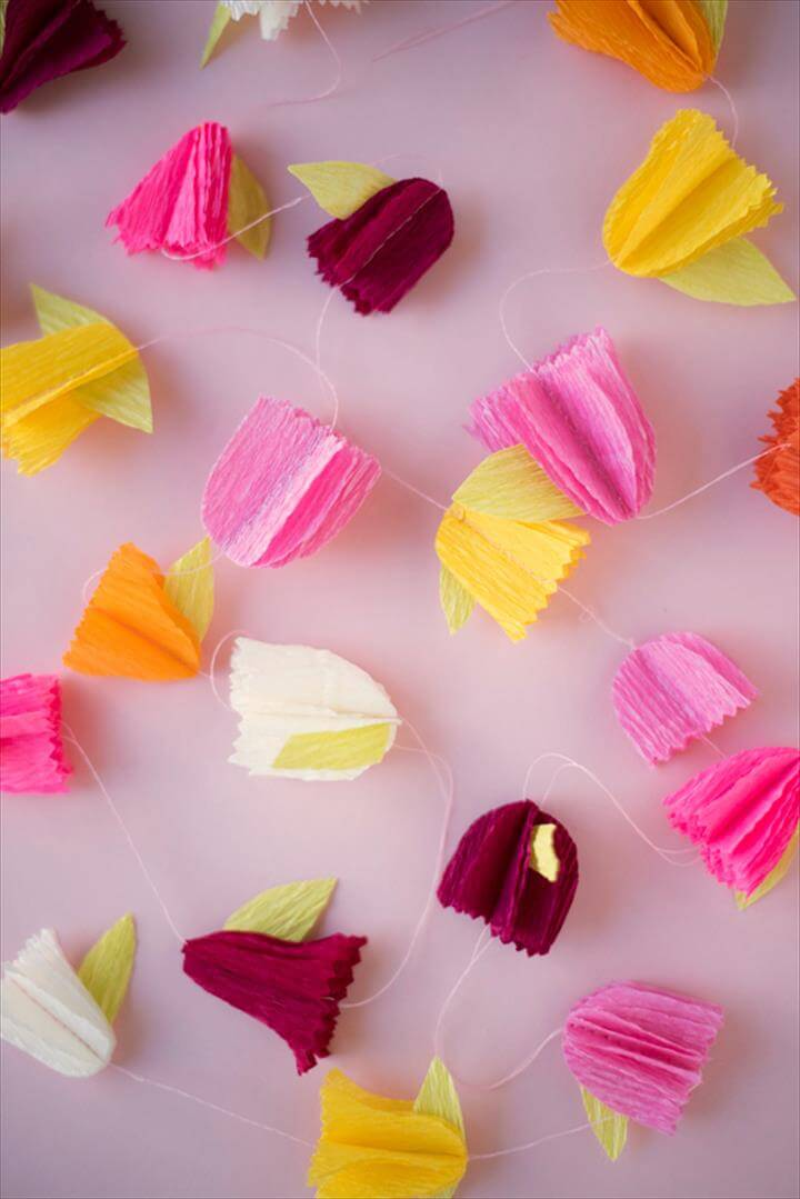 Crepe Paper Flower Garland DIY