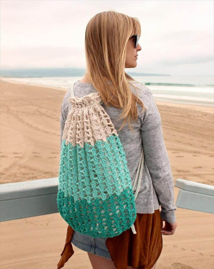 crochet beach backpack