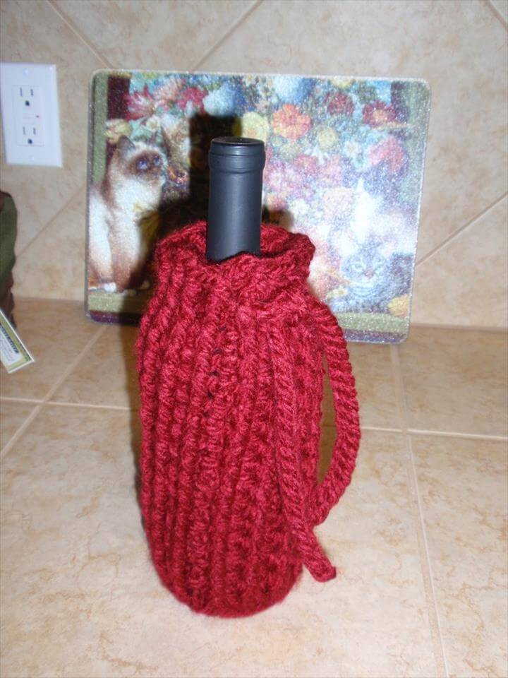 Wine Cozy - pattern from Loops & Threads Charisma yarn Welcome Home project book - fun