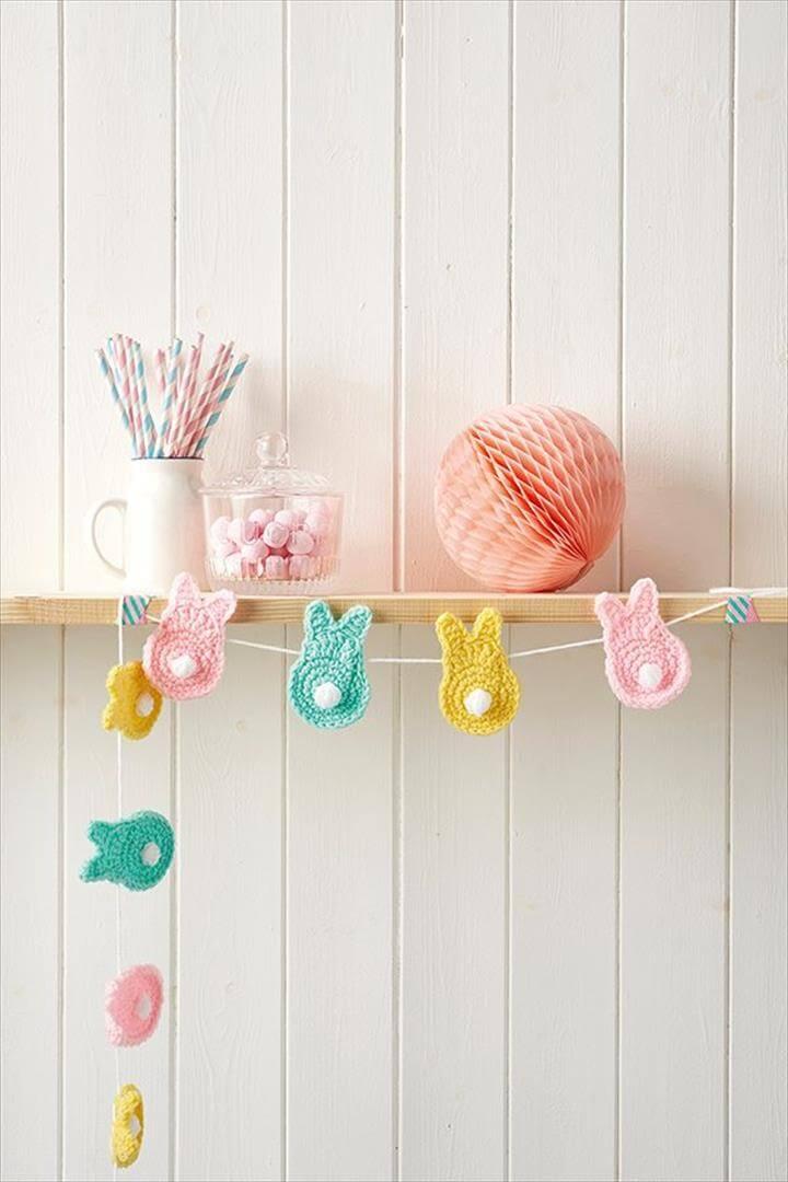 Crochet bunnies Easter garland