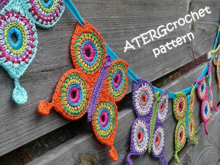Crochet pattern butterfly garland