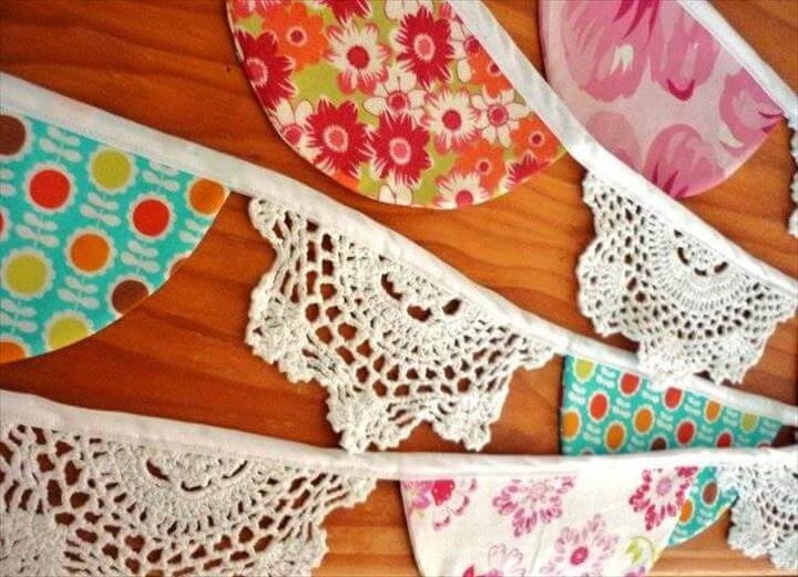 fabric and crochet doily bunting