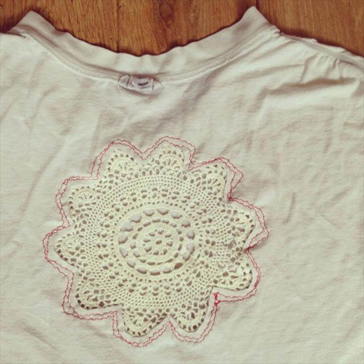 Perfect DIY Ideas For Embellishment Your T Shirt Using A Lace Doily
