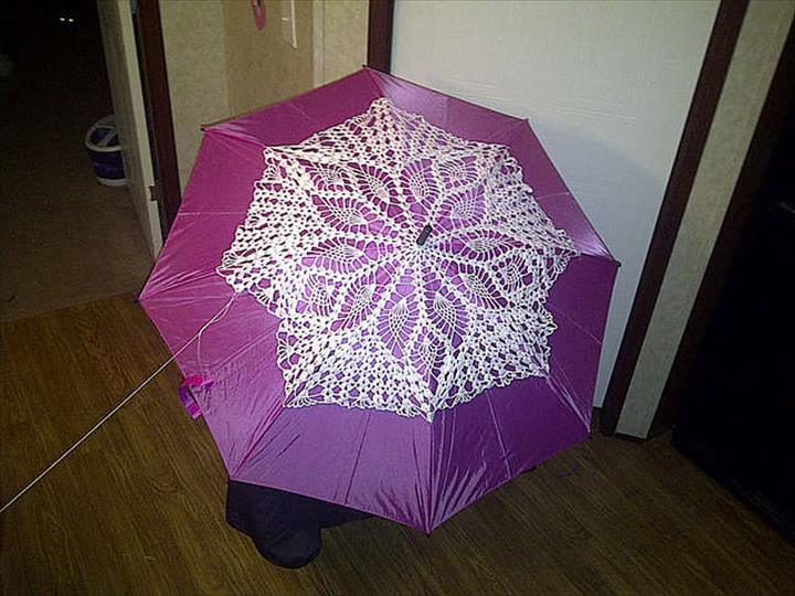 amazing crochet doily umbrella