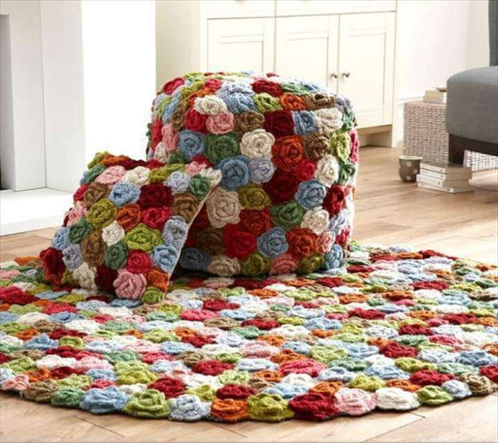 Crochet craft ideas. Colorful crochet patterns decorating floor rugs, decorative pillows and poufs
