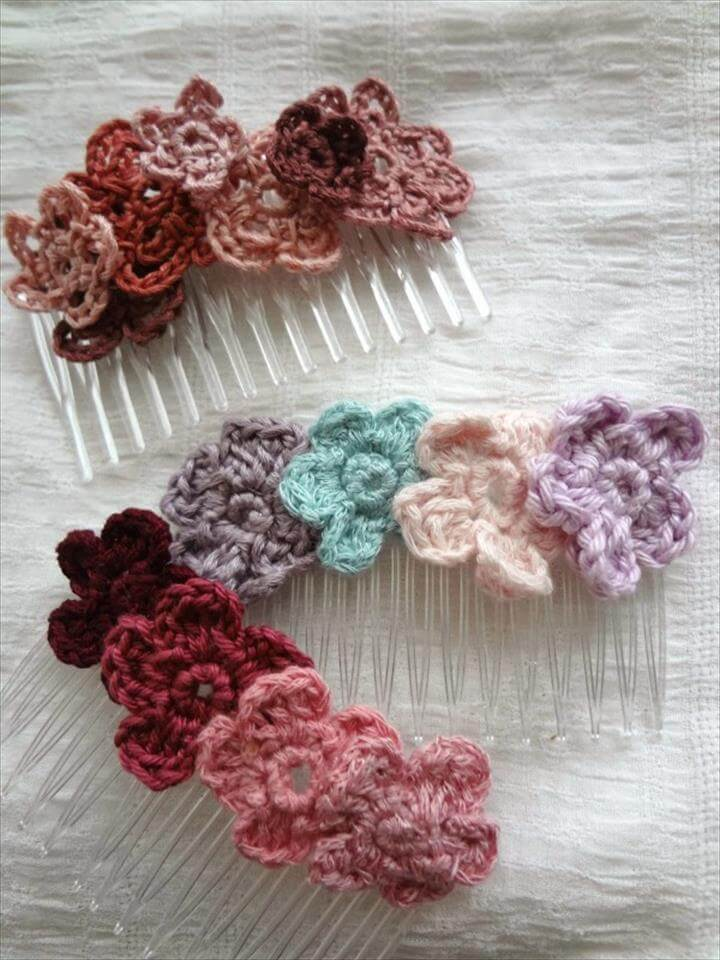 crochet flower hair comb