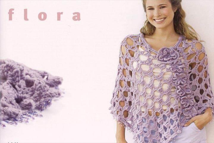 Spring crafts: flower poncho, free crochet patterns