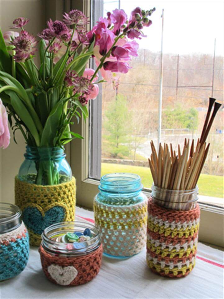 diy mason jar cover crochet pattern