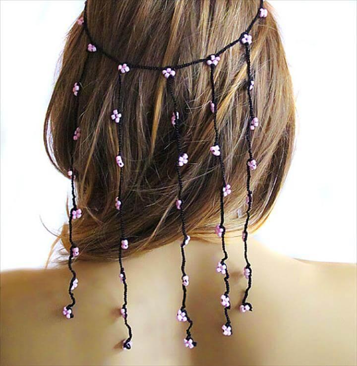 crochet Headband Hair Weddings hair Accessories Hair Piece pink beaded Wedding Bridal Accessories Boho Bohemian Women hairwraps