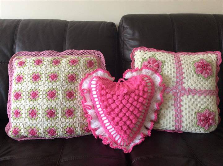 Heart shaped cushion made with crochet