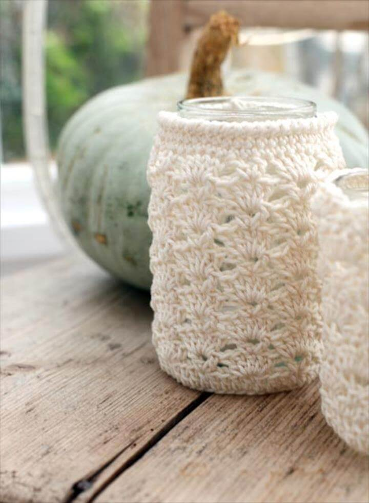 Jars, Crochet jar covers and Tea light holder